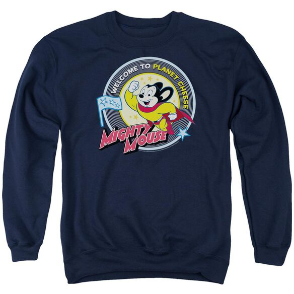 Mighty Mouse Planet Cheese Adult Crewneck Sweatshirt