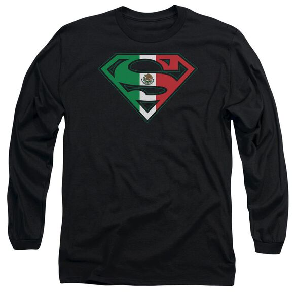 Superman Mexican Flag Shield Long Sleeve Adult T-Shirt
