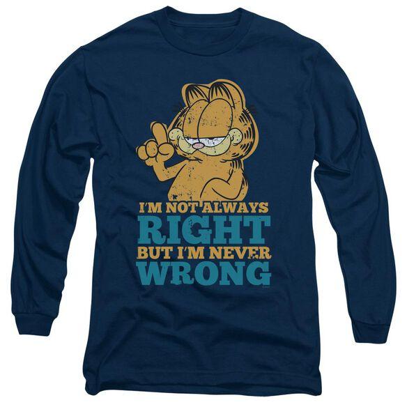 GARFIELD NEVER WRONG - L/S ADULT 18/1 - NAVY T-Shirt