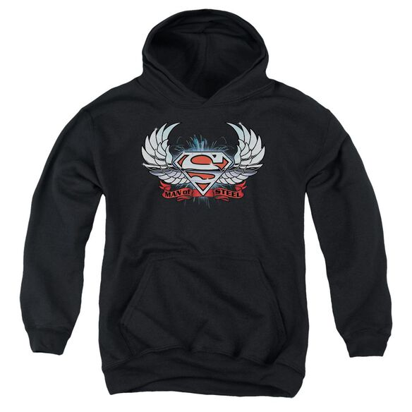 Superman Chrome Wings Shield Youth Pull Over Hoodie