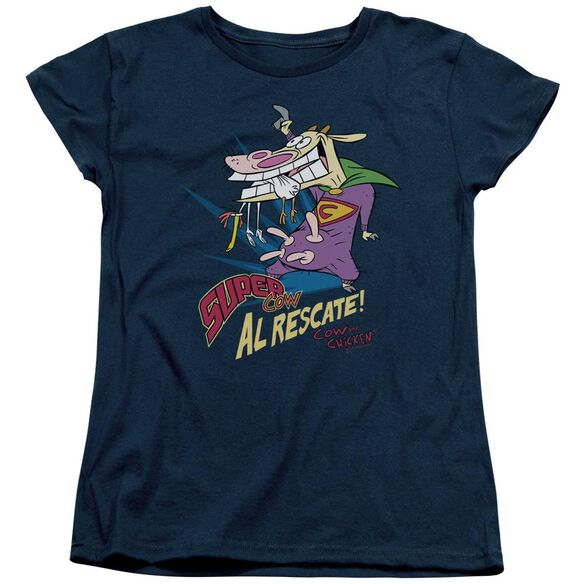 Cow & Chicken Super Cow Short Sleeve Womens Tee T-Shirt