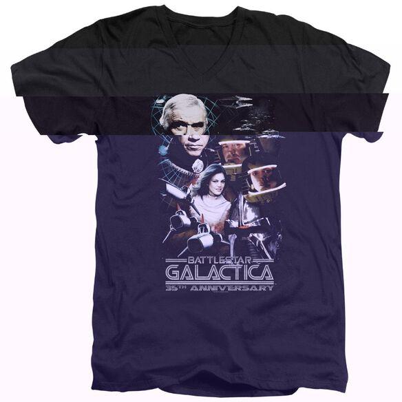 BSG 35TH ANNIVERSARY COLLAGE - S/S ADULT V-NECK - BLACK T-Shirt