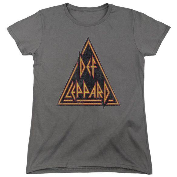 Def Leppard Distressed Logo Short Sleeve Womens Tee T-Shirt