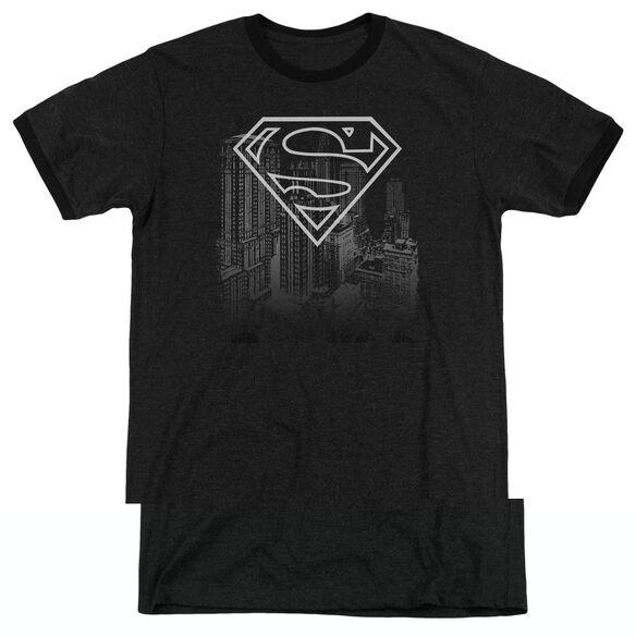 Superman Skyline - Adult Heather Ringer - Black