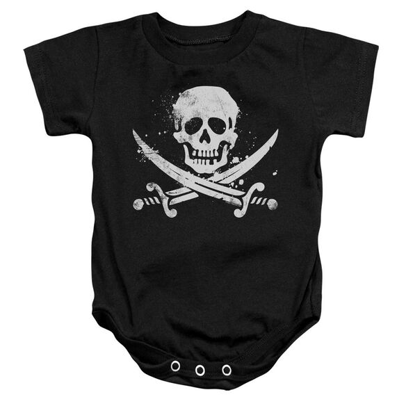 Distressed Jolly Roger Infant Snapsuit Black