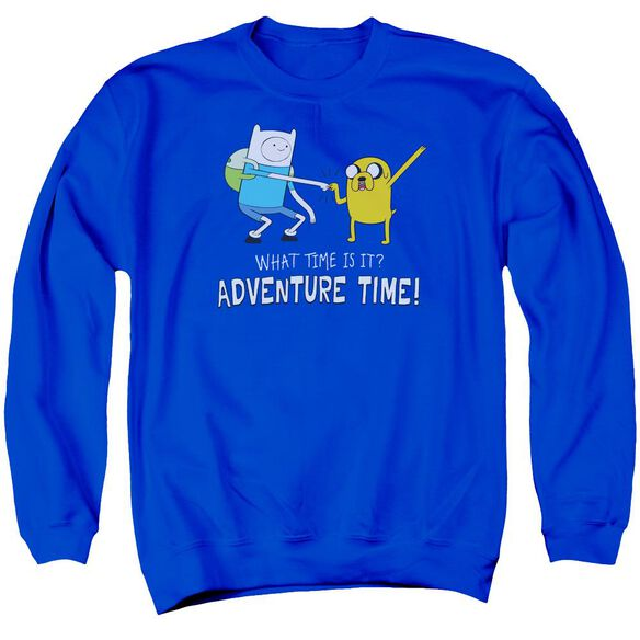 Adventure Time Fist Bump Adult Crewneck Sweatshirt Royal