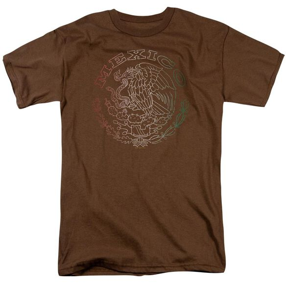 Mexico Flag Logo Short Sleeve Adult Coffee T-Shirt