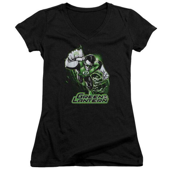 Jla Green Lantern Green & Gray Junior V Neck T-Shirt