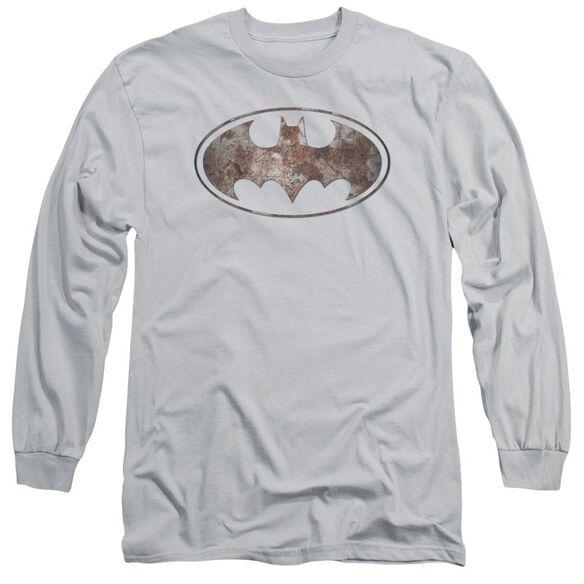 Batman Heavy Rust Logo Long Sleeve Adult T-Shirt