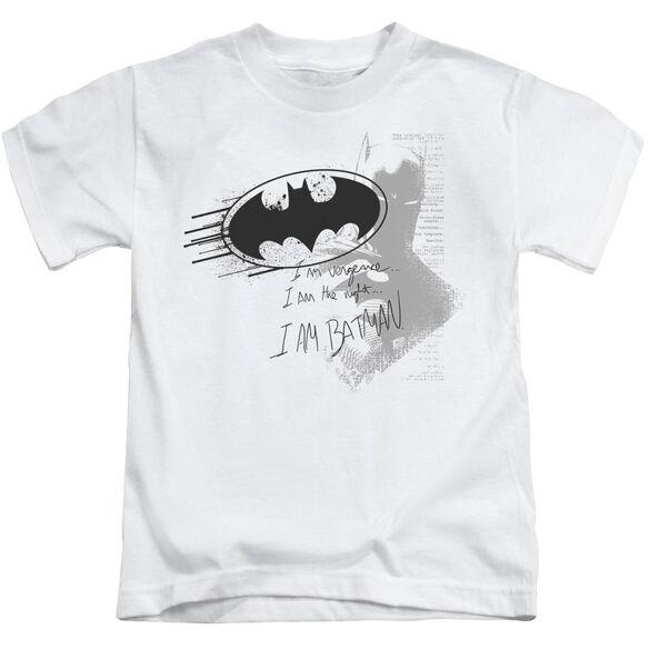 Batman I Am Vengeance Short Sleeve Juvenile White Md T-Shirt