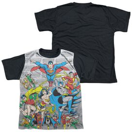 Dc Justice League Assemble Short Sleeve Youth Front Black Back T-Shirt