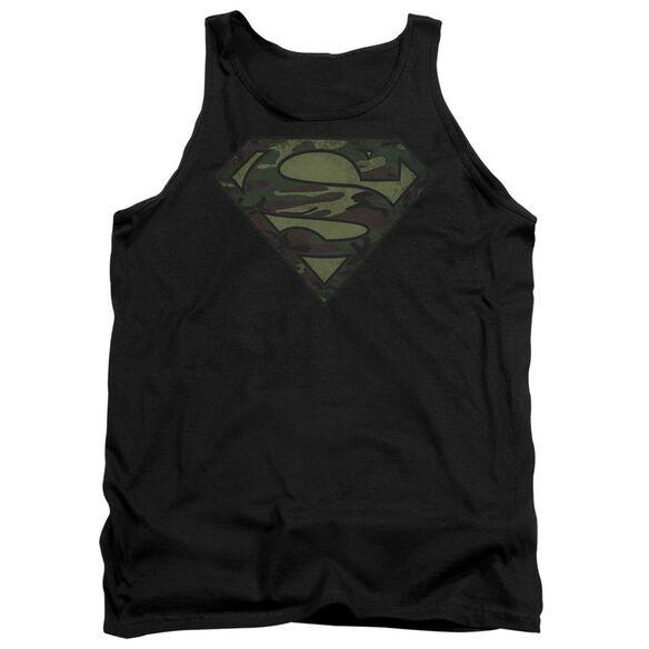 Superman Camo Logo Distressed - Adult Tank - Black