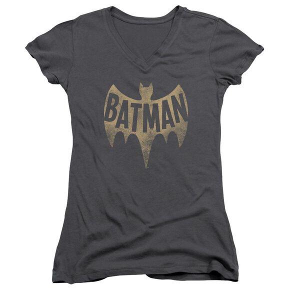 Batman Classic Tv Vintage Logo Junior V Neck T-Shirt