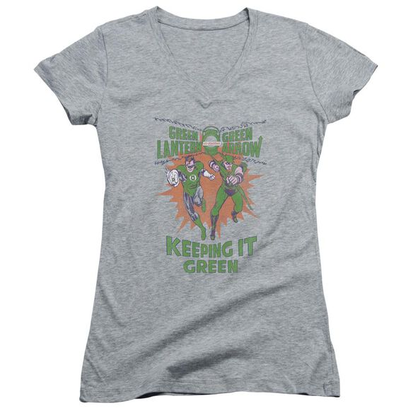 Green Lantern Keeping It Green Junior V Neck Athletic T-Shirt