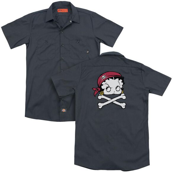 Betty Boop Pirate (Back Print) Adult Work Shirt