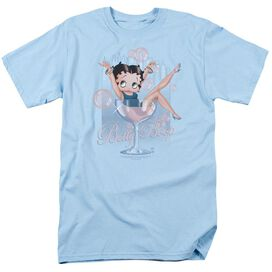 Betty Boop Pink Champagne Short Sleeve Adult Light Blue T-Shirt
