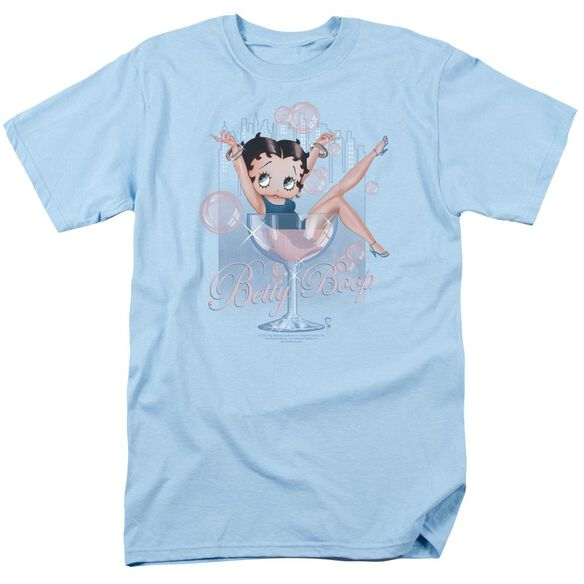 Betty Boop Pink Champagne Short Sleeve Adult Light Blue T-Shirt