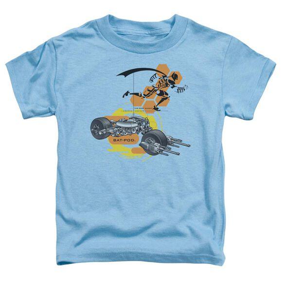 Dark Knight Bat Pod Schematic Short Sleeve Toddler Tee Carolina Blue T-Shirt