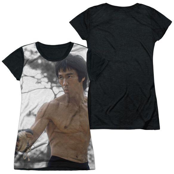 Bruce Lee Battle Ready Short Sleeve Junior Poly Black Back T-Shirt