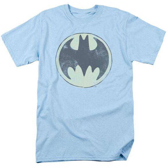 Batman Old Time Logo Short Sleeve Adult Light Blue T-Shirt