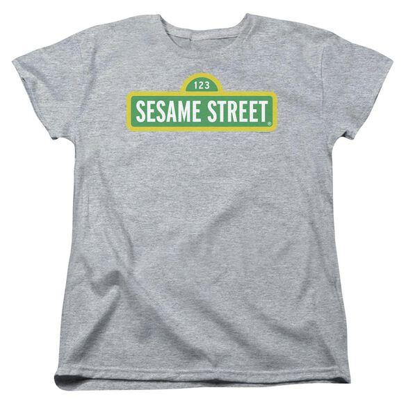 Sesame Street Logo Short Sleeve Womens Tee Athletic T-Shirt