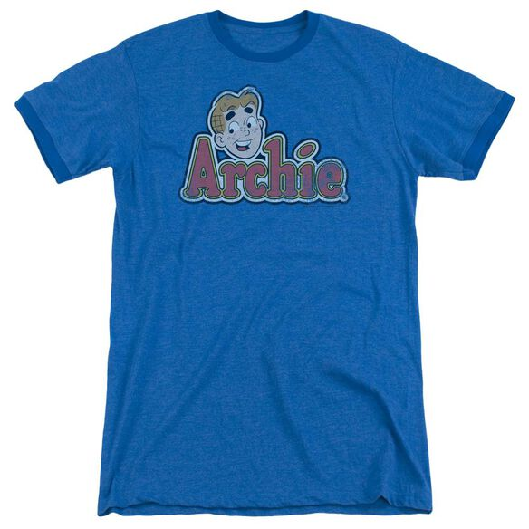 Archie Comics Distressed Archie Logo Adult Heather Ringer Royal Blue