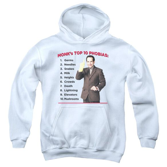 Monk Top 10 Phobias Youth Pull Over Hoodie
