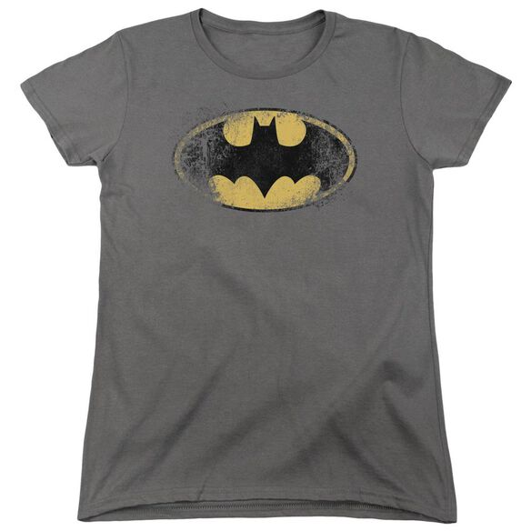 Batman Destroyed Logo Short Sleeve Womens Tee T-Shirt