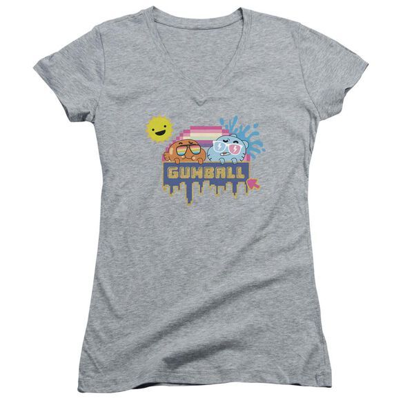 Amazing World Of Gumball Sunshine Junior V Neck Athletic T-Shirt