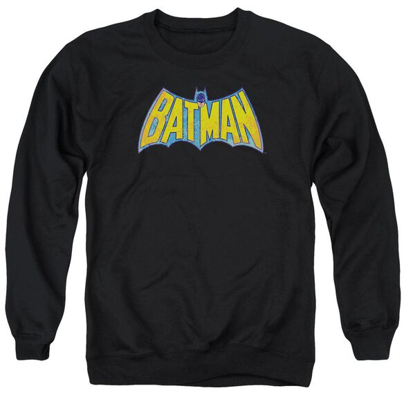 Dco Batman Neon Distress Logo Adult Crewneck Sweatshirt