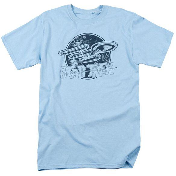 Star Trek Retro Enterprise Short Sleeve Adult Light Blue T-Shirt