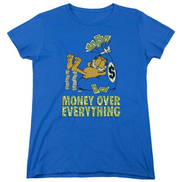 Garfield Money Is Everything Short Sleeve Womens Tee Royal T-Shirt