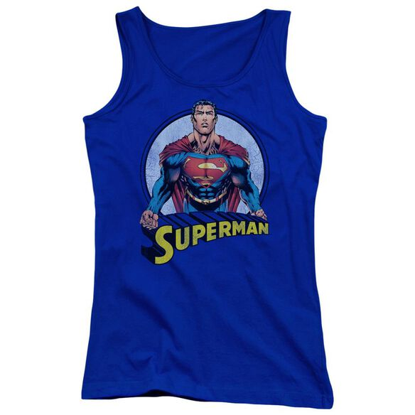 Superman Flying High Again Juniors Tank Top Royal