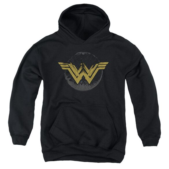 Wonder Woman Movie Distressed Logo Youth Pull Over Hoodie