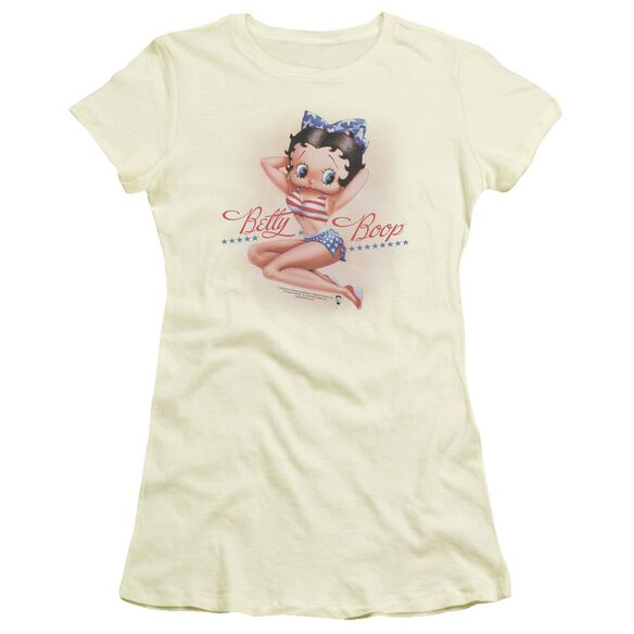 Betty Boop Stars And Stripes Forever Short Sleeve Junior Sheer T-Shirt