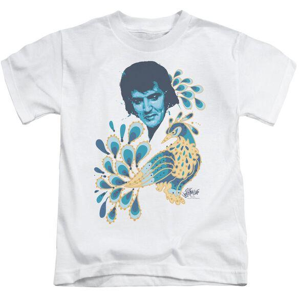 Elvis Peacock Short Sleeve Juvenile White T-Shirt