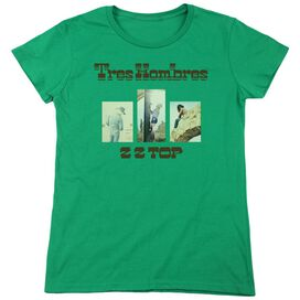Zz Top Tres Hombres Short Sleeve Womens Tee Kelly T-Shirt