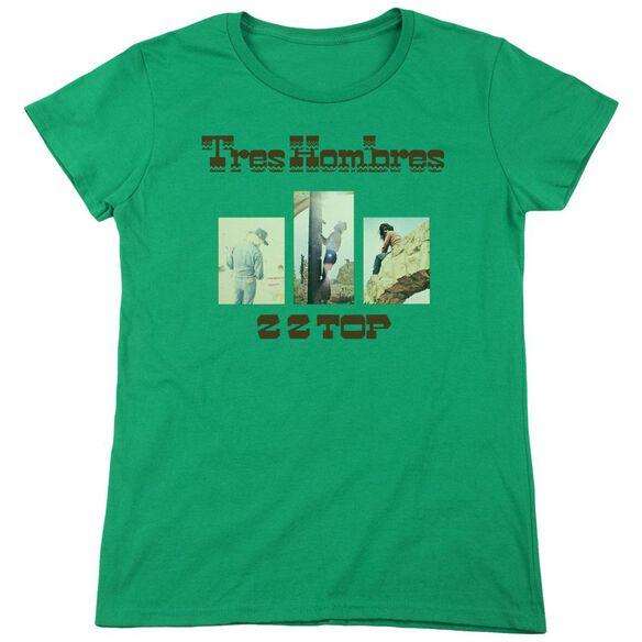 Zz Top Tres Hombres Short Sleeve Womens Tee Kelly T-Shirt