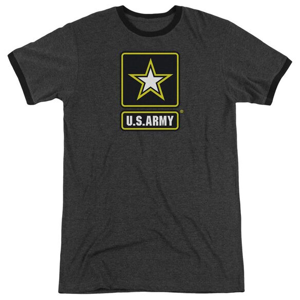Army Logo Adult Heather Ringer Charcoal