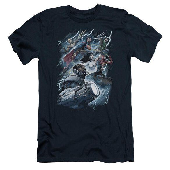 Jla Ride The Lightening Short Sleeve Adult T-Shirt