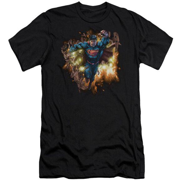 Superman Blasting Through Premuim Canvas Adult Slim Fit