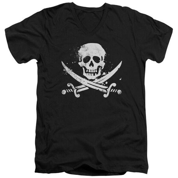 Distressed Jolly Roger Short Sleeve Adult V Neck T-Shirt
