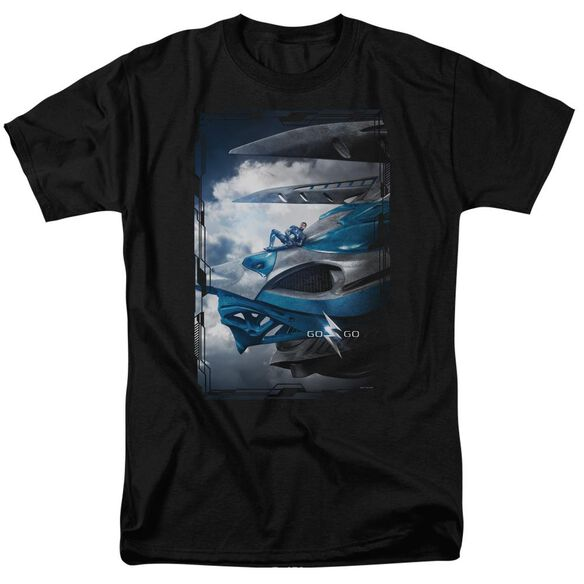 Power Rangers Blue Zord Poster Short Sleeve Adult T-Shirt
