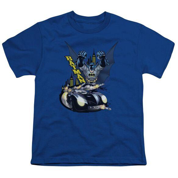 Batman By Air & By Land Short Sleeve Youth Royal T-Shirt