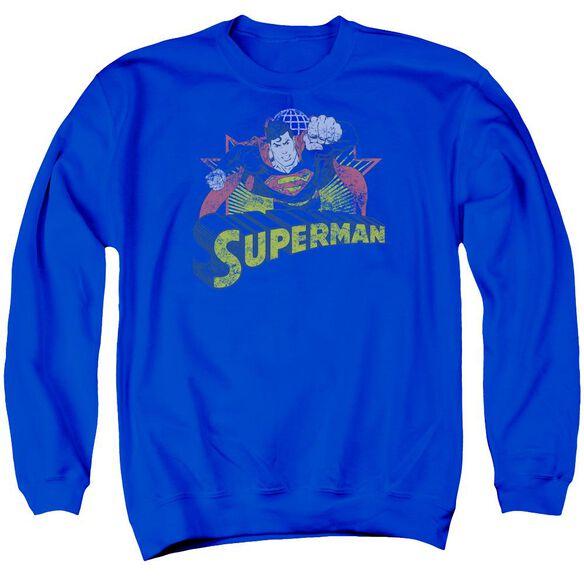 Jla Superman Rough Distress Adult Crewneck Sweatshirt Royal