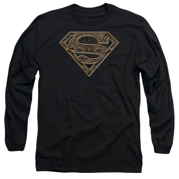 SUPERMAN AZTEC SHIELD - L/S ADULT 18/1 - BLACK T-Shirt