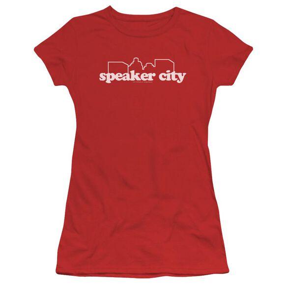 Old School Speaker City Logo Short Sleeve Junior Sheer T-Shirt