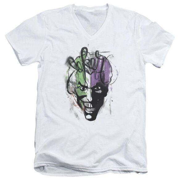 Batman Joker Airbrush Short Sleeve Adult V Neck T-Shirt