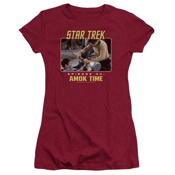 ST ORIGINAL AMOK TIME - S/S JUNIOR SHEER - CARDINAL T-Shirt