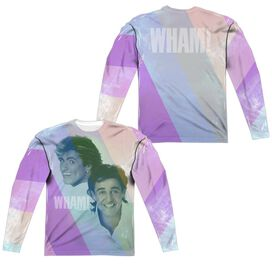 Wham Pastel Lines (Front Back Print) Long Sleeve Adult Poly Crew T-Shirt